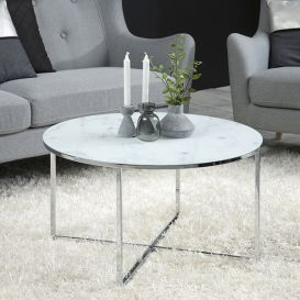 Salontafel Alisma rond marmer wit/zilver Scandic House