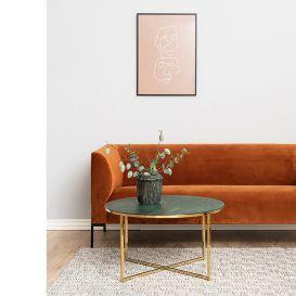 Salontafel Alisma rond marmer groen/goud Scandic House