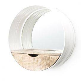 Ronde spiegel met vakje wit