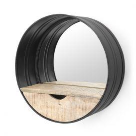 Ronde spiegel met vakje zwart