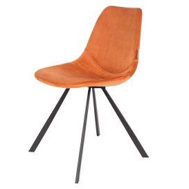 Stoel Franky velvet oranje Dutchbone