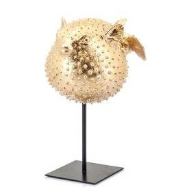 Decoratie item Puffy goud metaal groot