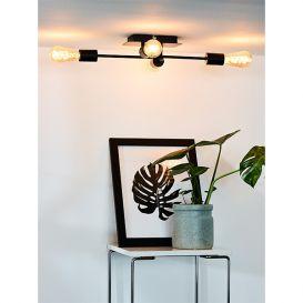 Plafondlamp Lester zwart metaal 4 lampen