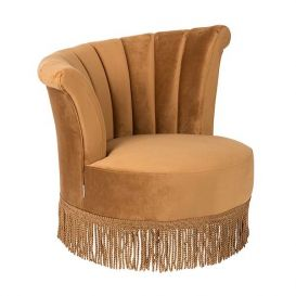 Lounge chair Flair velvet goud bruin