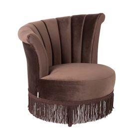 Lounge chair Flair velvet donkerbruin