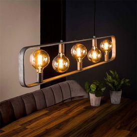 Hanglamp Strip 5 lampen oud zilver