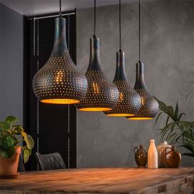 Hanglamp Punch 4 kegel lampen zwart/bruin