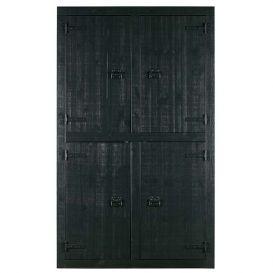 Kast Bunk 4-deurs grenen mat zwart
