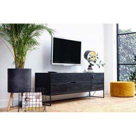Tv-meubel Silas eiken geborsteld black night