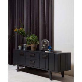Tv-meubel Watch grenen bezaagd mat zwart