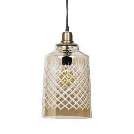 Hanglamp Engrave glas L antique brass