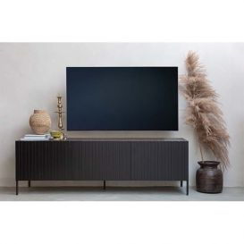 TV-meubel Gravure bruin essen/zwart grenen