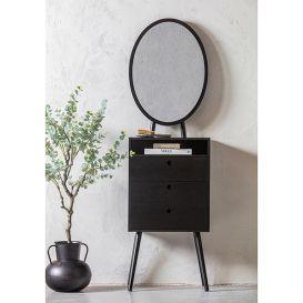 Ladekast Vanity met spiegel zwart hout