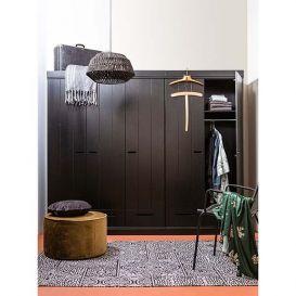 Kast Connect 3-deurs + lade zwart grenen hout