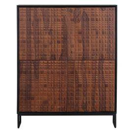 Kast Nuts 4-deurs walnoot/zwart hout
