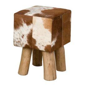 Kruk koe vierkant bruin-wit 30x30x45cm