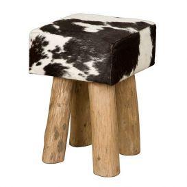 Kruk koe vierkant zwart-wit 30x30x45cm