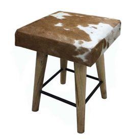 Kruk koe vierkant bruin-wit 35x35x45 cm