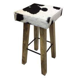 Barstoel koe vierkant zwart-wit 35x35x75cm