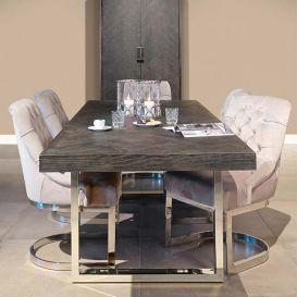 Eettafel Blackbone silver 220x100cm