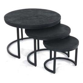 Bijzettafels set van 3 zwart mangohout