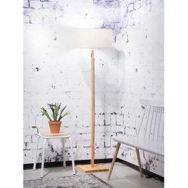 Vloerlamp Fuji bamboe licht linnen