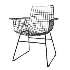 Draadstoel met arm metaal zwart