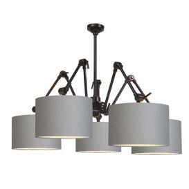 Hanglamp Amsterdam licht grijs 5 arms