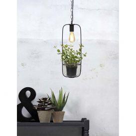 Hanglamp/planthouder Florence zwart ijzer/glas