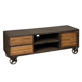 Tv-meubel metaal met teakhout 140x45x50cm
