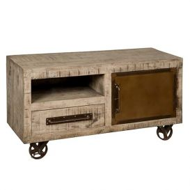 Tv-meubel w/n 1 deur 1 lade 1 open vak op wielen