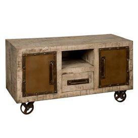 Tv-meubel w/n 2-deurs 1 lade 1 open vak op wielen