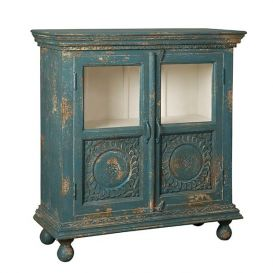 Opbergkast 2-deurs antiek blauw