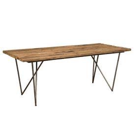Eetkamertafel hout met metaal onderstel 200x90cm