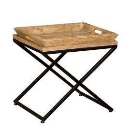 Bijzettafel hout/metaal met dienblad