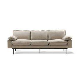 Bank retro sofa 3-zits cosy beige