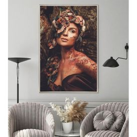 Mondiart schilderij Nymph woman in a magical forest AluArt 80x120 cm Glans