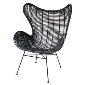 Rotan Egg chair zwart met zwarte poten