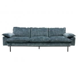 Bank retro sofa 4-zits fluweel petrol blauw