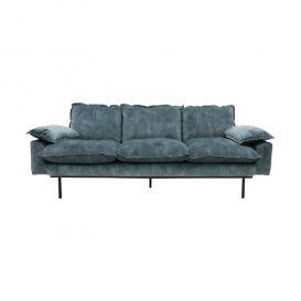 Bank retro sofa 3-zits fluweel petrol blauw