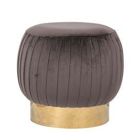 Pouffe Faye stone velvet