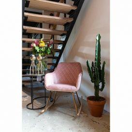 Schommelstoel Rocky roze velvet