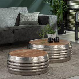 Ronde salontafel set van 2 hout/staal