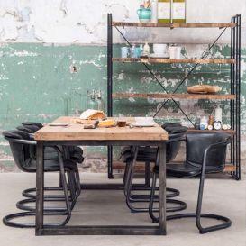 Eetkamertafel Mango massief hout metalen U-poot zwart 240x100cm