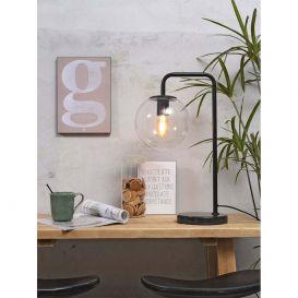 Tafellamp Warsaw transparant/zwart Ijzer/glas