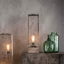 Tafellamp rechthoek mesh houten voetje