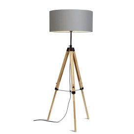 Vloerlamp Darwin licht grijs hout/ijzer zwart