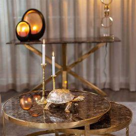 Salontafel Conrad set van 2 bruin marmer/goud